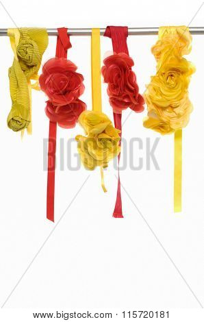 Colorful flower made of silk and satin dangle-yellow and red
