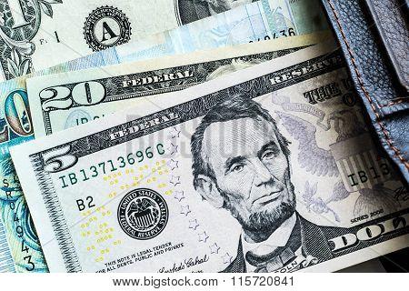 Currency dollar financial background. 5 dollar bank.