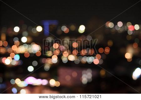 Bokeh Building Night Lights In The City