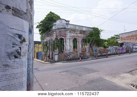 Old Deteriorated Building In Manaus