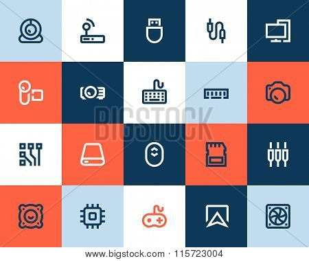 Computer components and peripherals icons