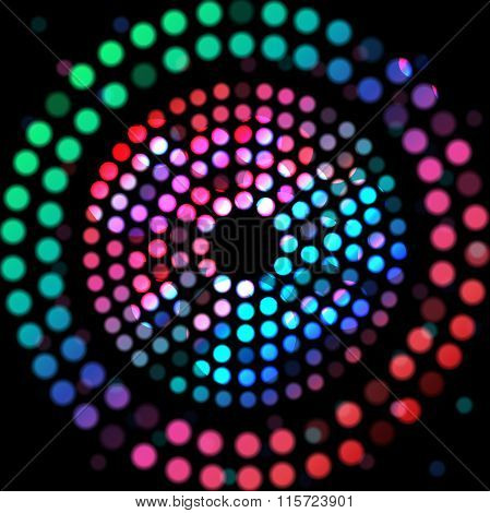 Color circle on a black background