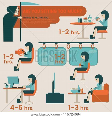 Are you sitting too much in a day infographic elements. Sitting risk flat illustration desing.