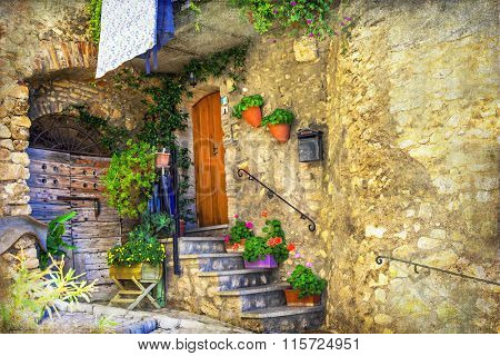pictorial old streets of Italian villages, artistic retro picture