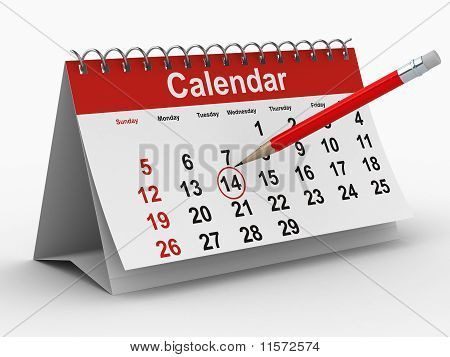 Calendar On White Background. Isolated 3D Image