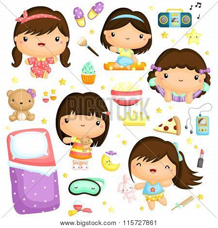 Sleepover Girls Party Vector Set