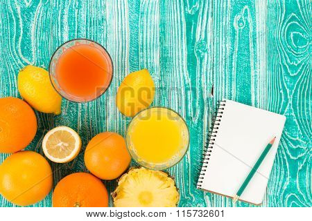 fresh juice from citrus fruits