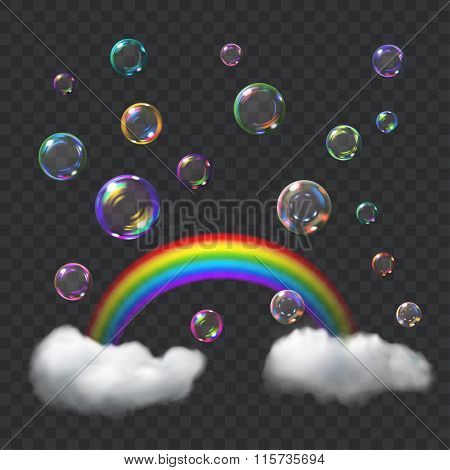 Multicolored Soap Bubbles, Rainbow And Clouds