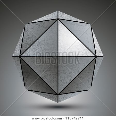 Zink Geometrical 3D Object Isolated On White Background, Grunge Metallic Sphere.