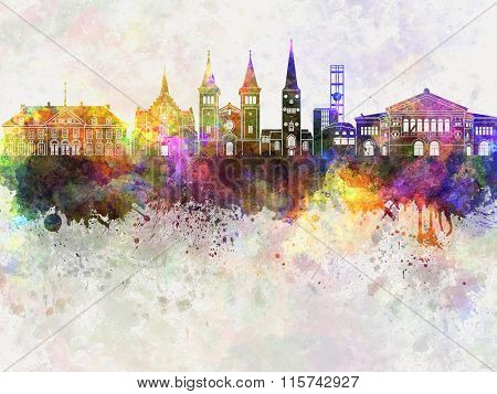 Aarhus Skyline In Watercolor Background
