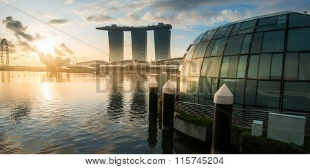 SINGAPORE -May 11: Wonderful sunrise at the Marina Bay waterfront in Singapore. Marina Bay Sands Hot
