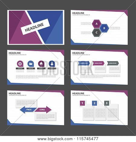 Blue Purple presentation templates flat design