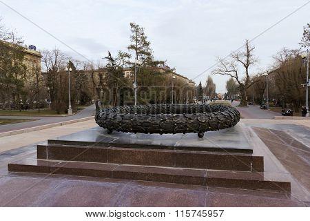 A Bronze Laurel Wreath. Volgograd, Russia