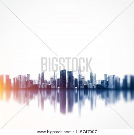 Panoramic view of a megalopolis with reflection. Square