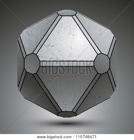 Dimensional Galvanized Object Created From Geometric Figures, Metallic 3D Globe.