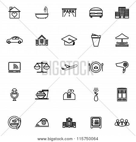 Hospitality Business Line Icons On White Background