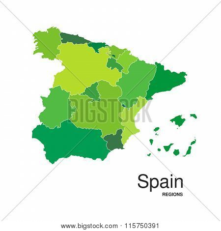 Green Spain Map
