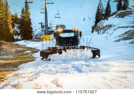 Snowplow Snowcat Ski Slopes Maintenance On The Mountains