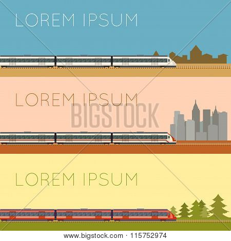 Vector image of a Set of commuter  train banners poster