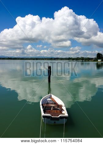 rowboat in a lake