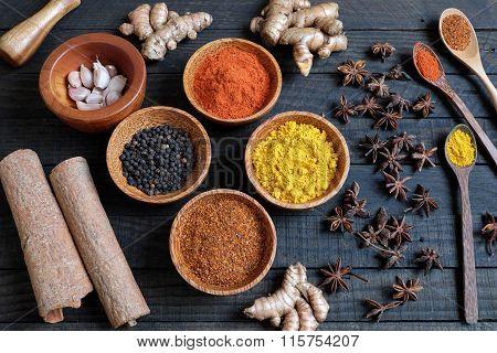 Colorful Spice Powder, Chilli, Pepper, Turmeric, Cashew