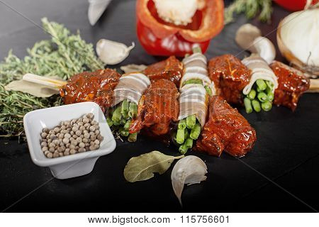 Raw Rotisserie and fresh Ingredients