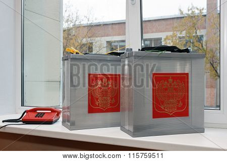 Mobile Ballot Box To Vote In The Elections Outside With Coat Of Arms Russia