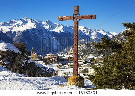 Aussois Village And Cross