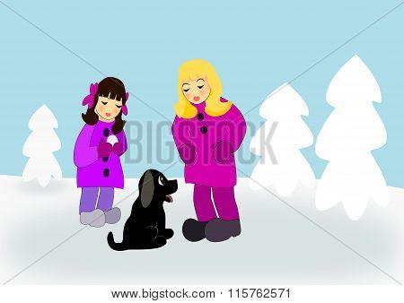 Girls with Puppy