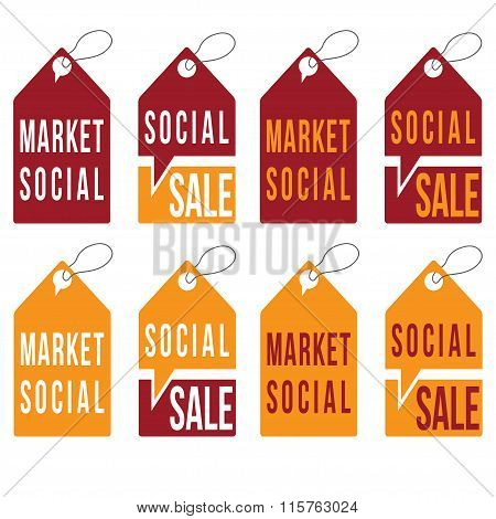 Set Of Social Sale Tags Vector Design Template