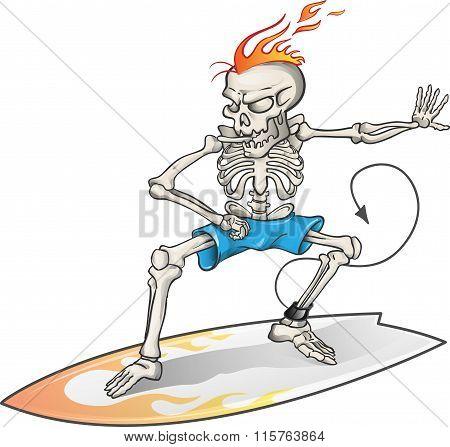 Skeleton Surfer Isolated  On  Background