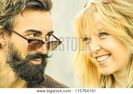 Hipster Couple At The Beginning Of Love Story - Happy Friendship Concept With Young People