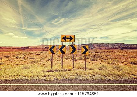 Vintage Stylized Photo Of Road Signs, Choice Concept.