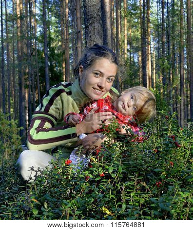 The Young Beautiful Girl With The Little Daughter Picking Bilberry (vaccinium Myrtillus) In The Summ