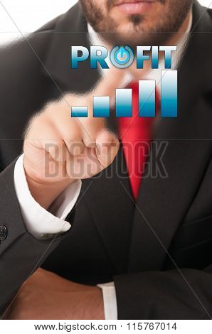 Business Man Click Button To Activate Growing Profit Chart Or Bars.