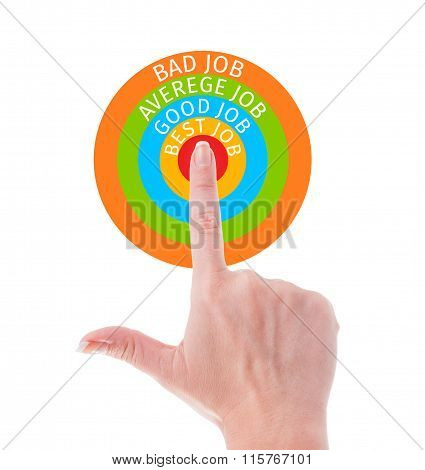 Perfect job search concept using a hand poiting center of colored target isolated on white background