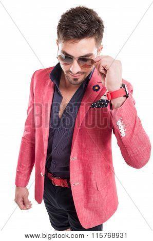 Funky Fashion Man Wearing Pink Jacket, Shorts And Sunglasses.