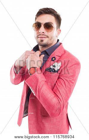 Funky Fashionable Male Model Fixing Shirt Collar.