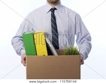 Fired Worker White Background