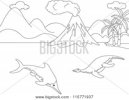 Funny Cute Ichthyosaurus And Pliosaurus On The Background Of A Prehistoric Nature. Educational Game
