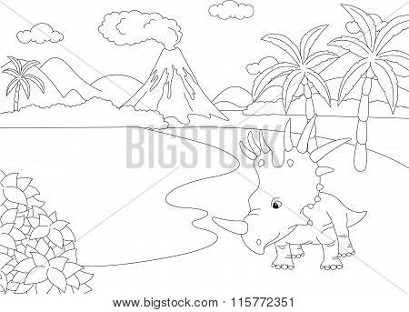 Funny Cute Styracosaurus On The Background Of A Prehistoric Nature. Educational Game For Kids. Color