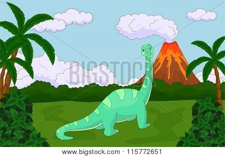 Funny Cute Diplodocus On The Background Of A Prehistoric Nature. Educational Game For Kids