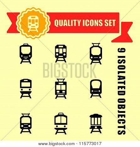 quality trains icon set