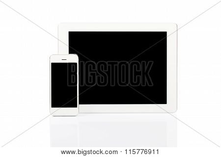 White Tablet Pc And Smartphone
