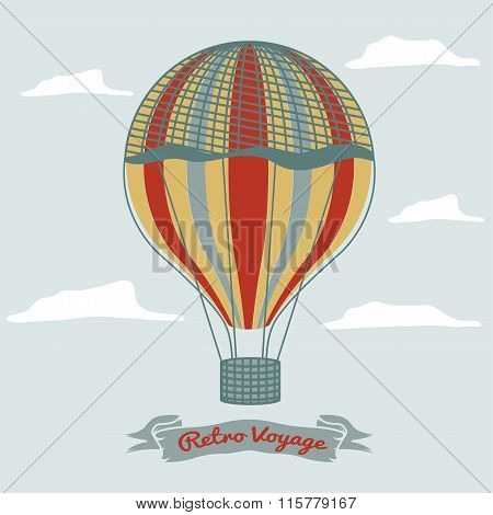 Vintage Hot Air Balloon In The Sky With Clouds