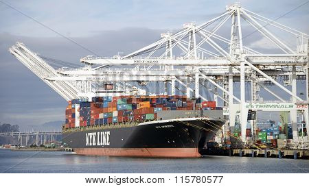 NYK Cargo Ship APHRODITE unloading containers at the Port of Oakland