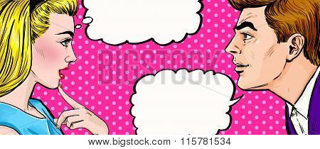 Pop Art couple conversation.Love couple.Pop Art love. Valentines day postcard.