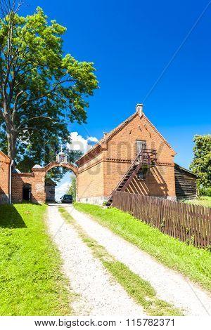 gate of Monastery of the Old Believers, Wojnowo, Warmian-Masurian Voivodeship, Poland poster