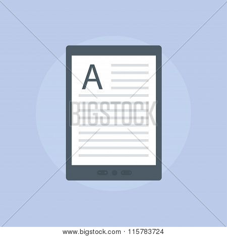 E-book Reader In Flat Style