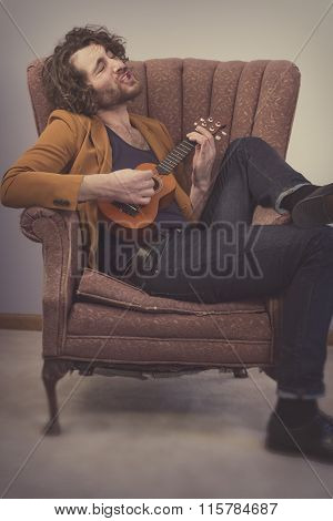 Musician Playing Acoustic Ukulele
